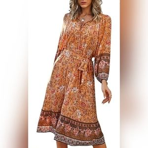 Floral Printed Beach Maxi Dress V Neck Belted 3/4